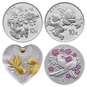 China - 4 x 10 Yuan 2018 - Auspicious Culture (4.) - Glückssymbole - Silber PP