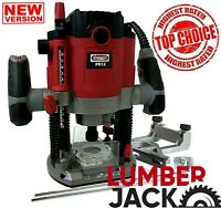 """Lumberjack Plunge Router Heavy Duty 1800W with 1/4"""" & 1/2"""" Collets 240v"""