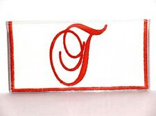 Fancy Orange Initial T on White Cotton&Vinyl checkbook cover FT-5 New Handmade