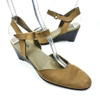 ARCHE LN Slingback Wedge Sandal Women's EU 38.5 US 7.5 Brown Suede Heels Shoes