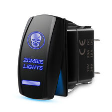 Universal 5PIN Laser Rocker Switch Blue Skull Backlit Zombie Light LED ON/OFF