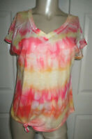 Maurices Blouse Top V-Neck Short Sleeve Orange & Yellow Tie Dye Lace Women's M