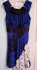 MAX AND CLEO NWOT BLACK Blue BODICE FLORAL formal DRESS SZ 6