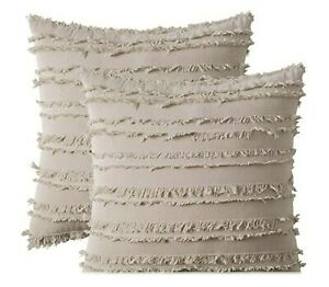 Set of 2 Decorative Cushion Covers Beige Cotton Pillow Covers for Couch Sofa Bed