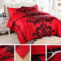 Flower Printed Comforter Bedding Set Flocking Queen Full Duvet Cover Red Black D