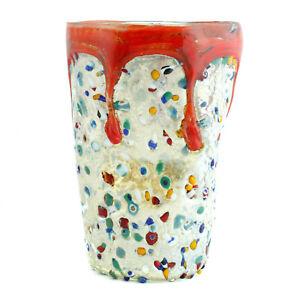 Murano Glass Drinking Art Glass Tumbler Silver Red Multi Hand Made Millefiori