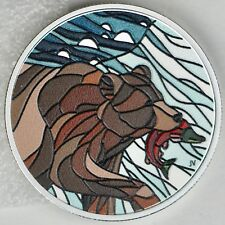 Canada 2018 $20 Canadian Mosaics: Grizzly Bear 99.99% Pure Silver Color Proof