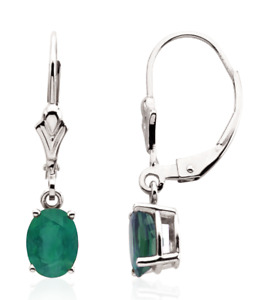 Emerald Leverback Dangle Earrings 14K White Yellow or Rose Gold 7 x 5mm Oval