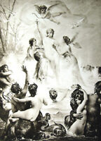 PRETTY NAKED NUDE GIRL WOMAN GODDESS VENUS BREASTS ~ Old 1893 Erotica Art Print