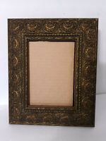 "Vtg Gold Gilt Ornate Picture Frame 5x7"" Baroque Rococo Easel Back No glass"