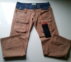 """Men's frankie morello tan & denim jeans 33"""" BRAND NEW WITH TAGS"""