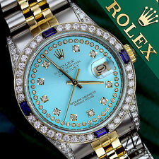 Rolex 26mm Datejust Ice Blue String Dial with Sapphire & Diamond Watch