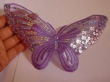 2 large patches sequin butterfly purple patch applique iron on sew motif hot fix