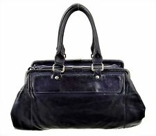MAISON MARTIN MARGIELA LEATHER HANDBAG NAVY BLUE DOUBLE FRAME LARGE DOCTOR BAG