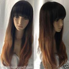 Long Wavy Curly Wig Black Gradient Brown Neat Bang Hair Cosplay Casual Lady Wig