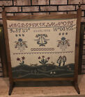 """Fireplace Screen - Wood Frame with Beautiful Cross Stitch34"""" tall x 28"""" wide"""