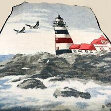 Biederlack Lighthouse Blanket 56x74 Reversible Nautical Ocean Throw Cover USA