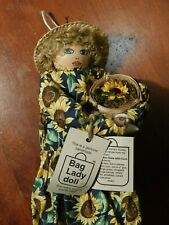 "Bag Lady Doll Sunny 1994 MINT UNUSED 21"" hanging recycle plastic bags sunflower"