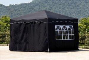 Falt Pavillon 100% WASSERDICHT 4 Seiten Dach 3x3m Garten Zelt Pavillion Schwarz