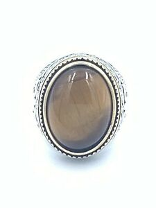Natural Handmade Tiger's Eye Agate Stone Sterling Silver 925 Men's Ring Size 9