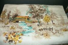 Unusual Vintage Scenic Barkcloth Glitter Embellished Pillow Top Fabric Cottage
