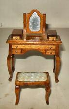 VINTAGE DRESSING TABLE/BENCH WALNUT  #7714 DOLL  HOUSE FURNITURE MINIATURES