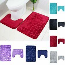 2PCS Set Pebbles Bath Mat Memory Foam Pedestal Mat Non Slip Toilet Bathroom Rugs