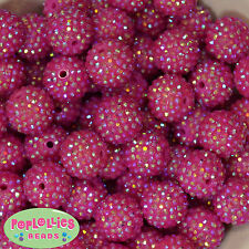 20mm Hot Pink Rhinestone  Bubblegum Beads 20pc Chunky Gumball Crystal
