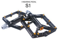 Road MTB XC Bike 4 sealed Bearing Pedals Flat Pedal Black + gold Aluminium studs