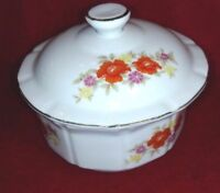 serving, snack bowl with lid, red flowers 4 in round, PORCELAIN,