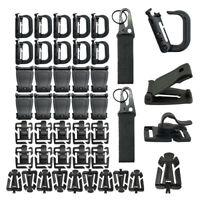42pcs Tactical Gear Clip Molle Webbing Attachments- 10x molle clips, 10xWeb