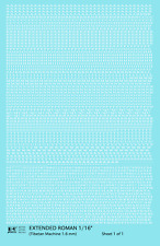 K4 HO Decals White 1/16 Inch Extended Roman Letter Number Alphabet Set