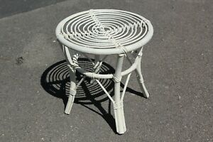 Vintage Wicker Bamboo Rattan Conservatory Coffee Side Table Plant Stand Tiki