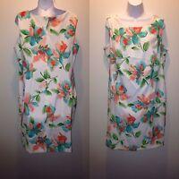 NEW! ALYX White Floral Print Sheath Dress Women's Plus Size 14W Women's 14