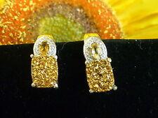 New Drusy Gold Quartz w/Gem Citrine Lever Earrings Sterling w/ Platinum Overlay
