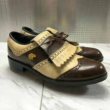 Jack Nicklaus Men's Brown Leather Kilt Saddle Bear Golf Shoes Metal Spikes Sz 8D