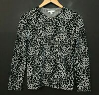 Charter Club Womens 100% Cashmere Gray Leopard Print Cardigan Sweater sz S Small