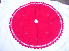 "Red Christmas Tree Skirt 50"" Holiday Peppermint Stripe Scallop Edge Cannon Falls"