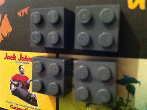 LegoMOnki 4 Retro Kitsch Fridge Magnets Grey made using LEGO®