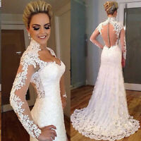 High Neck Wedding Dresses Full Lace Mermaid Bridal Gown Floor Length Custom Made