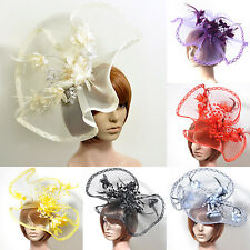 wedding party  women hair accessory large clip hat net flower feather fascinator