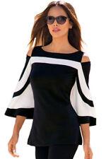 Women Color Block 3/4 Long Bell Kimono Sleeve Cold Shoulder Blouse Top Shirt Tee