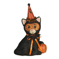 "9.5"" Bethany Lowe Black Cat Party Retro Vtng Style Halloween Figurine Home Decor"