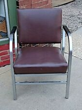 Vintage Mid Century Modern Unique Metal Art Deco Folding reclining arm chair