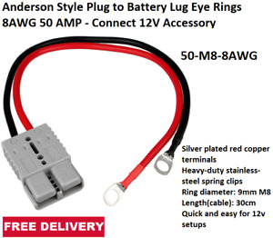 Anderson Style Plug to Battery Lug Eye Rings 8AWG 50 AMP - Connect 12V Accessory