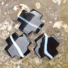 3 Banded black onyx agate cross beads. Jewelry making. Irish supplier. 40mm gift