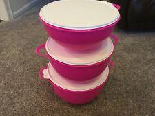 Tupperware Thatsa Bowls 3 Piece Set in Hot Pink w/White Seals - New!