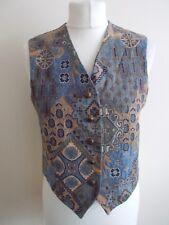 Women's Blue Brown Pattern V Neck Waistcoat Vest By St Michael M&S Size 10