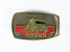 Vintage 1989 Mens Snap On Drivin Proud Truck Van Brass Limit Edition Belt Buckle