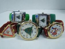 5 LOT CHRISTMAS TREE HOLIDAY SANTA CLAUS FESTIVE RED & GREEN WRIST WATCHES